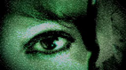 Eye of virtual girl Footage