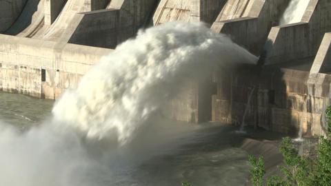 Hydro electric dam spillway 01 Footage