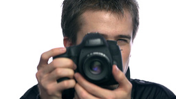Close Up Man Photographing On Professional Camera stock footage