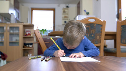 Young Creative Kid Busy Drawing At Home Dolly Shoo stock footage