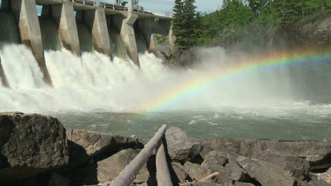 Hydro Dam With Rainbow Zoom Out stock footage