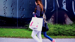 SLOW Young Ladies With Bags From Shopping stock footage