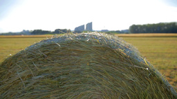 Hay Bale On Field Jib Shot stock footage