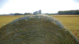 Hay Bale On Field Jib Shot stock footage