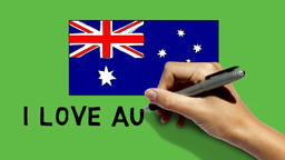Hand Paint Australia Flag & Scribble I LOVE AUSTRA stock footage