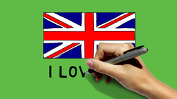 Hand painting UK flag and scribbling I LOVE UK on  Animation