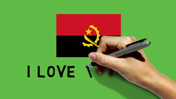 Hand Paints Angola Flag And Scribbles I LOVE ANGOL stock footage