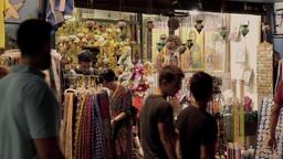 Tourists Shopping Souvenirs At Monastiraki Acropol stock footage