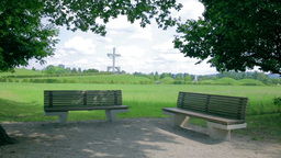 Green Park With Two Benches stock footage
