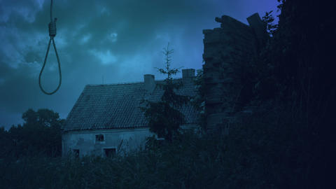 Noose and the abandoned farmhouse Stock Video Footage