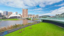 4k timelapse video of riverbank precinct in Adelai Footage
