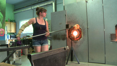 Glass Blower Working In Studio stock footage