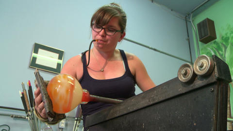 Glass blowing, shaping large bowl Live Action