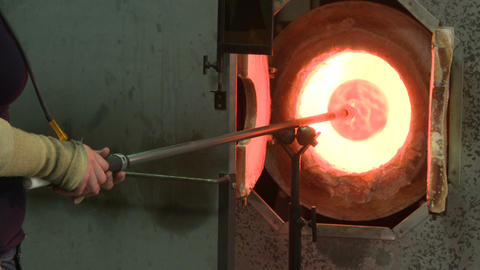 Glory hole of a glass blowing furnace Footage