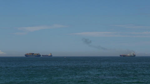Cargo Ships at Anchor Footage