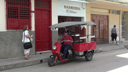 Senior Retired Citizen Driving Motorbike In Cuba stock footage
