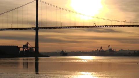 Bridge With Hazy Sun stock footage