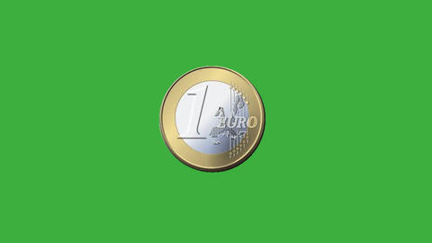 Euro coin emerging on a green screen Animation