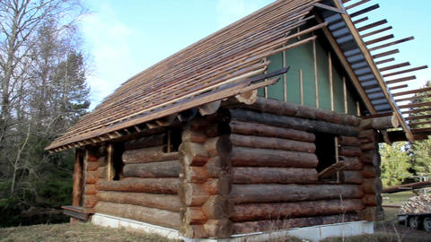 Small log house Cedar wooden shingles roof roofing Footage
