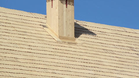 Cedar wooden shingles roof roofing roofworking car Footage