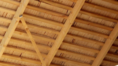 Under Cedar Wooden Shingles Roof Roofing Roofworki stock footage