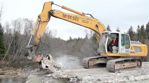 Road men operation the demolition machine bulldoze Footage