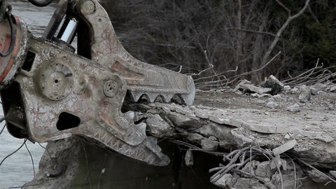 Demolition bulldozer machine destroying a bridge t Footage