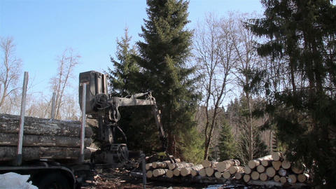 Log forwarder moving and unloading logs from the t Footage