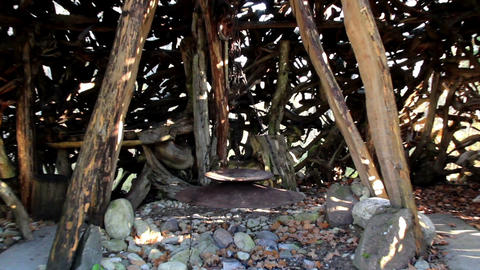 Hanging cooking pot inside the witch house hut Footage