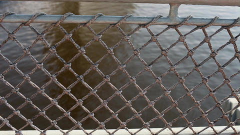 Net Aboard An Old Vessel View Of The Sea stock footage