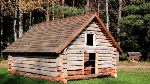 Cabin log and its roof made of wooden tiles Footage