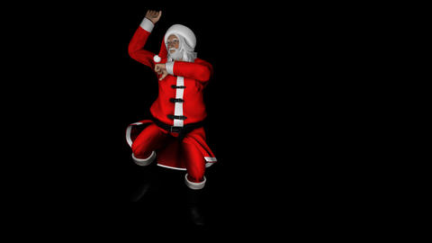 Santa Clause Gangnam Style Dance On Alpha Channel Footage