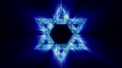 Star of David from glowing blue particles loop Animation