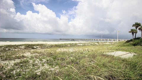 Florida Fishing Pier Timelapse stock footage
