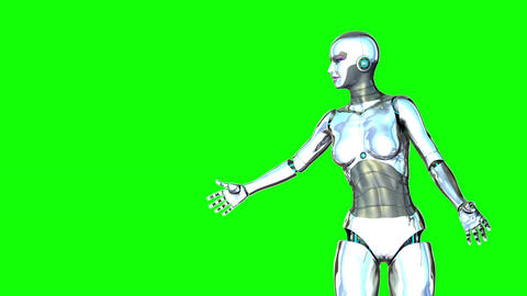 Robot Girl Green Screen Animation