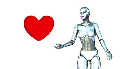 Robot Girl with Heart Animation