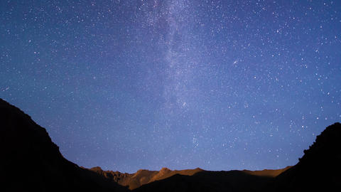Light of the moon and the Milky Way. Time Lapse Live Action