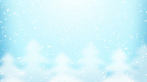 snowfall and fir trees loop Animation
