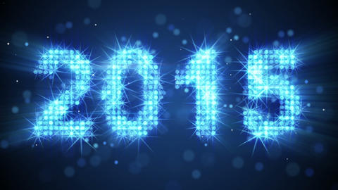 new year 2015 greeting glowing blue particles loop Animation