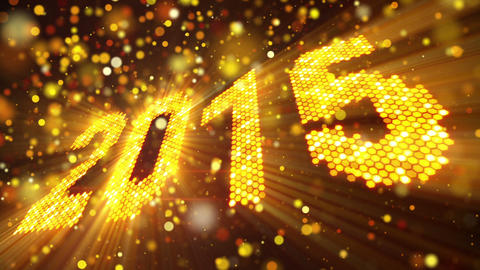 greeting new year 2015 of shining yellow elements Animation