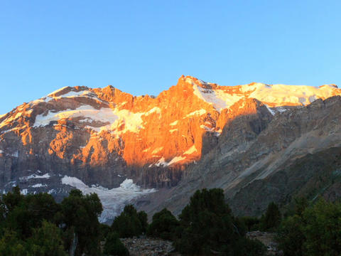 Sunrise in the mountains. Time Lapse, Pamir, Tajik Footage