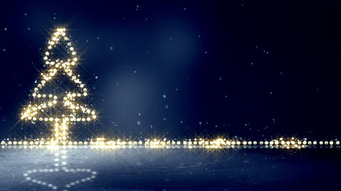 christmas tree glowing lights loop background Animation