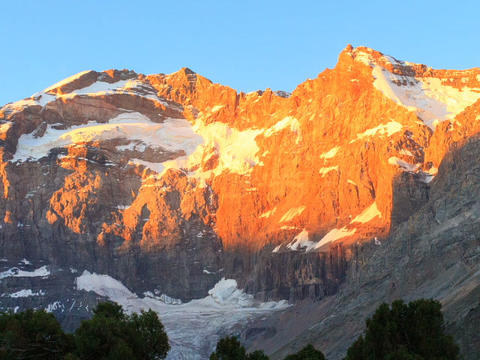 Mountain Range In The Morning. Time Lapse, Pamir,  stock footage