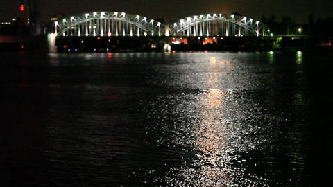 Night city river bridge blurred outlines Footage