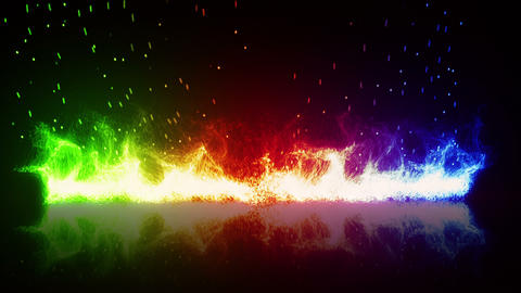 rainbow flaming fire and reflection loop Animation