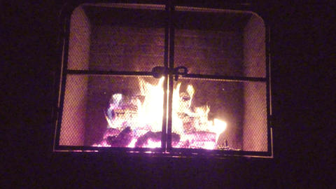 Fire flames and burning wood logs in fireplace Footage