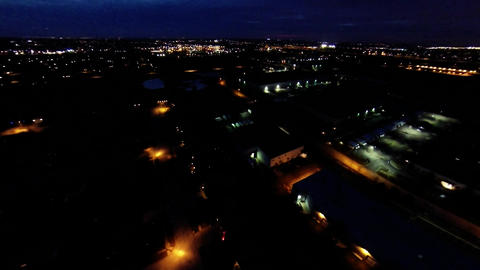 Aerial night view of residential suburban neighbor Footage