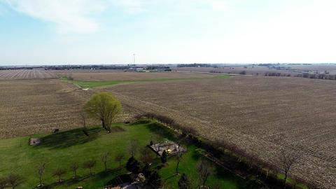 Aerial View Flyover Agriculture Fields And Farmlan stock footage