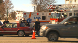 HD2009-3-2-34 ambulance and fire truck accident Stock Video Footage