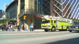 HD2009-5-7-4 fire truck responds DT Stock Video Footage